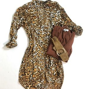 Boston Proper animal print button up shirt dress